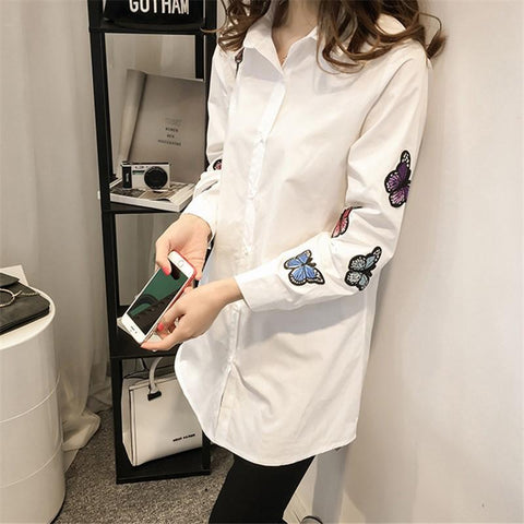 Image of Fashion Long Sleeve Butterfly Embroidery Loose Shirt White m
