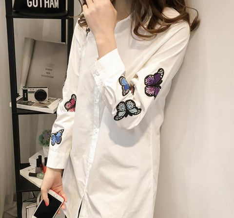 Image of Fashion Long Sleeve Butterfly Embroidery Loose Shirt White l