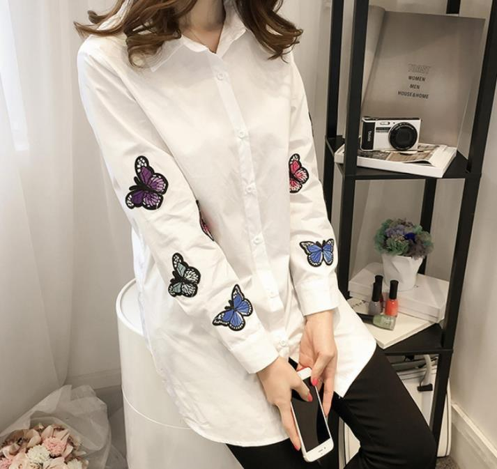 Fashion Long Sleeve Butterfly Embroidery Loose Shirt White xl