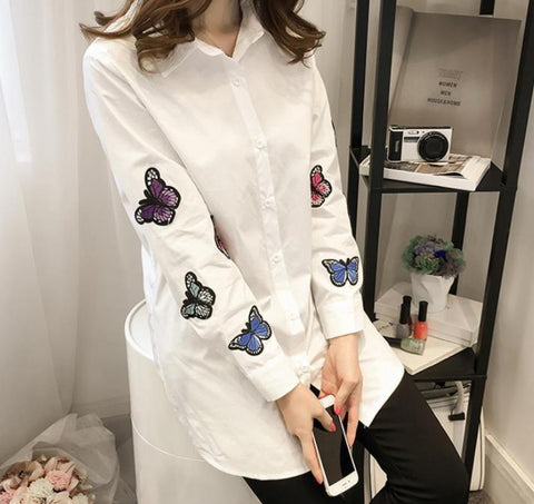 Image of Fashion Long Sleeve Butterfly Embroidery Loose Shirt White xl