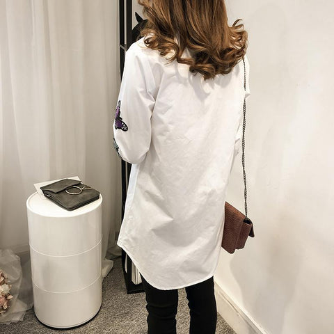Image of Fashion Long Sleeve Butterfly Embroidery Loose Shirt White 2xl