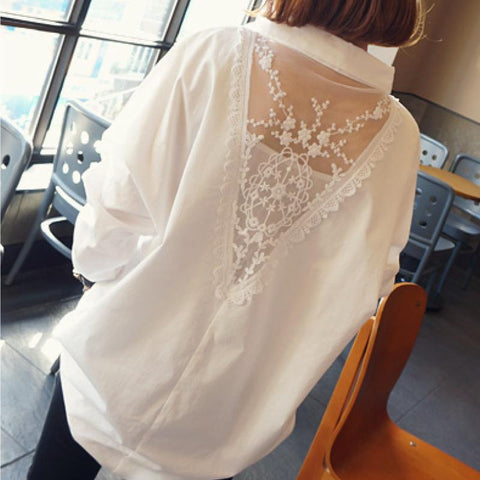 Image of Fashion Long Sleeve Lace Splicing Loose Shirt White l