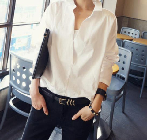 Image of Fashion Long Sleeve Lace Splicing Loose Shirt White xl