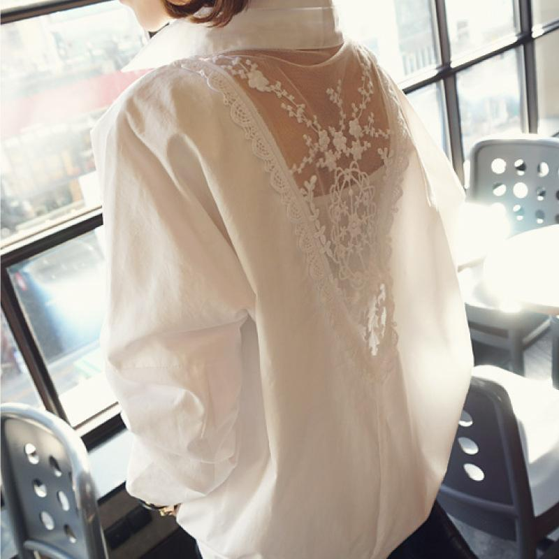 Fashion Long Sleeve Lace Splicing Loose Shirt White m