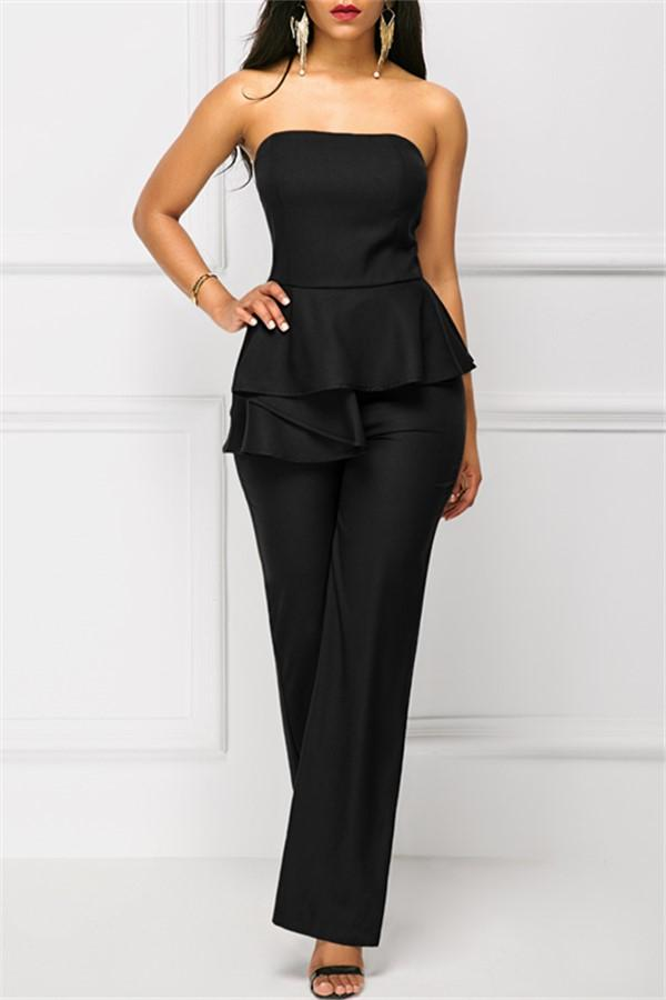 Fashion Sexy Off The   Shoulder Falbala Wide Leg Jumpsuit Black s
