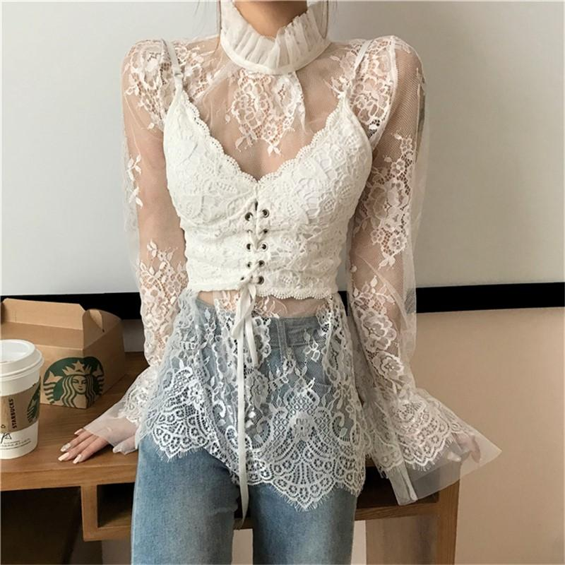 Fashion High Collar   Sexy Lace Perspective T-Shirt Blouse Apricot one size