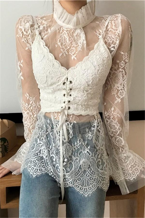 Fashion High Collar   Sexy Lace Perspective T-Shirt Blouse White one size