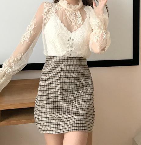 Image of Fashion High Collar   Sexy Lace Perspective T-Shirt Blouse