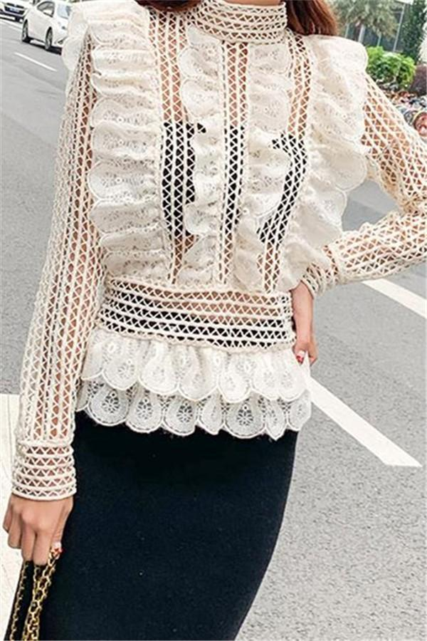 Fashion Sexy Lace  Perspective T-Shirt Blouse Apricot s