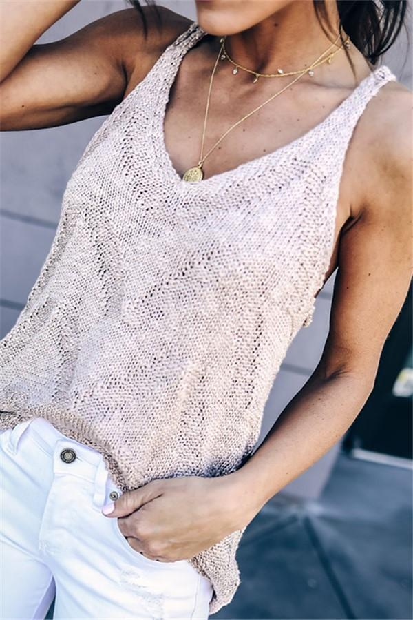 Fashion Sleeveless   Knitted Sweater Vest Blouse Pink s