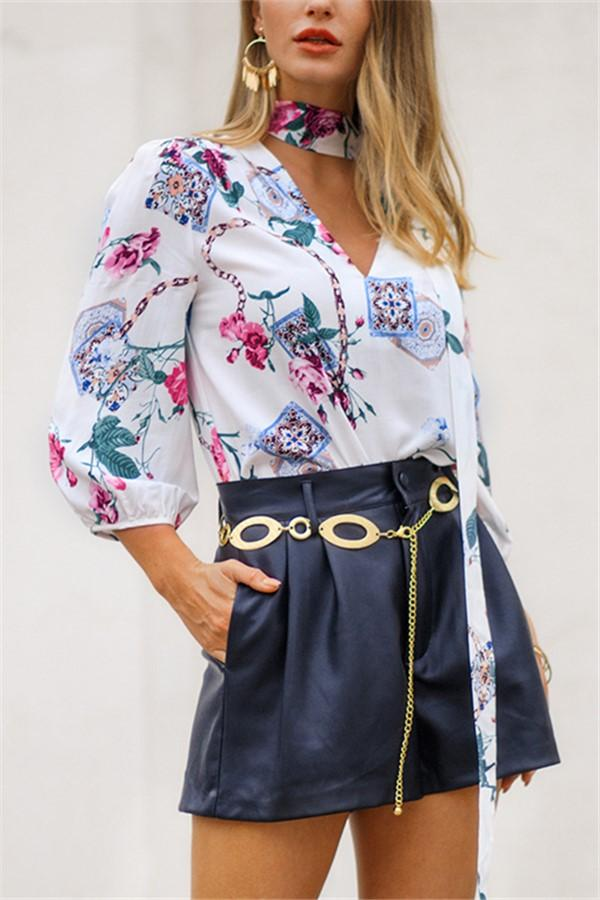 Fashion Sexy V Neck   Show Thin Floral Print Shirt White s