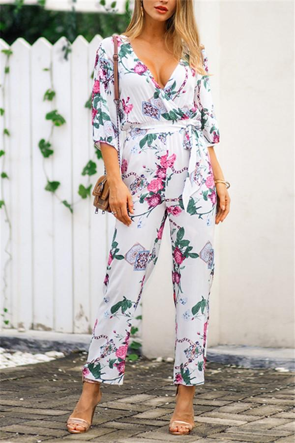 Fashion Frenulum Slim   Show Thin Floral Print Jumpsuit White s