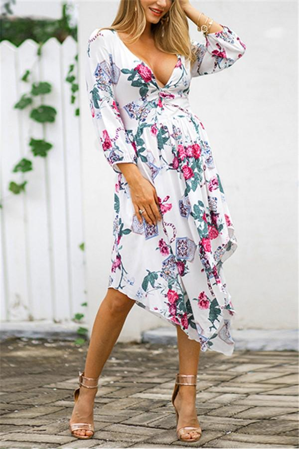 Fashion Sexy V Neck   Show Thin Floral Print Maxi Dress White s