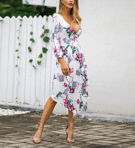 Image of Fashion Sexy V Neck   Show Thin Floral Print Maxi Dress White m