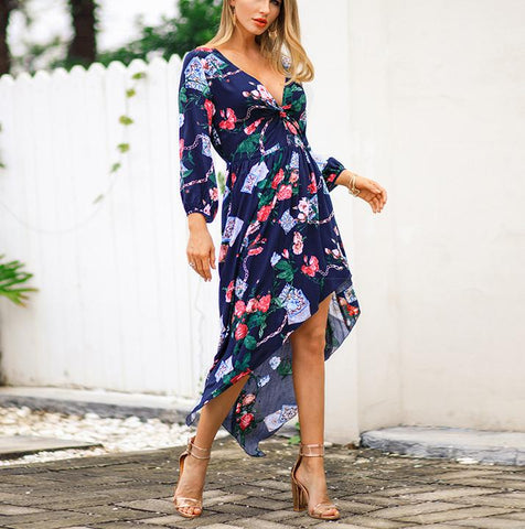 Image of Fashion Sexy V Neck   Show Thin Floral Print Maxi Dress Royal Blue s