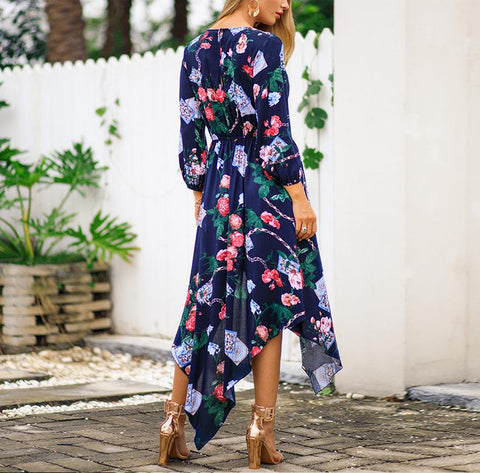 Image of Fashion Sexy V Neck   Show Thin Floral Print Maxi Dress Royal Blue l