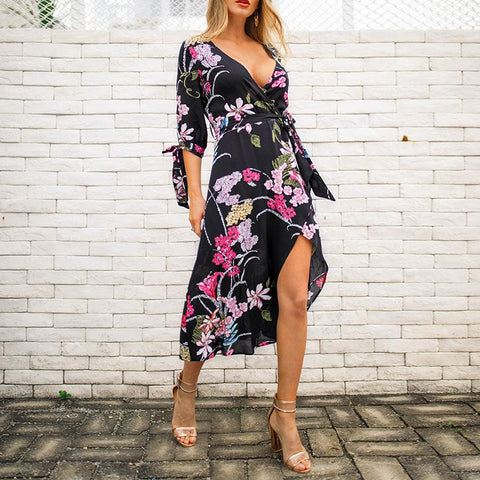Image of Fashion Sexy V Neck   Show Thin Floral Print Maxi Dress Black xl