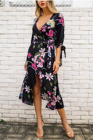 Image of Fashion Sexy V Neck   Show Thin Floral Print Maxi Dress Black s