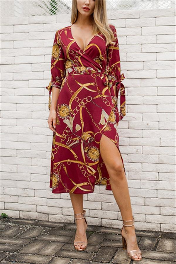 Fashion Sexy V Neck   Show Thin Frenulum Floral Print Maxi Dress Date Red s