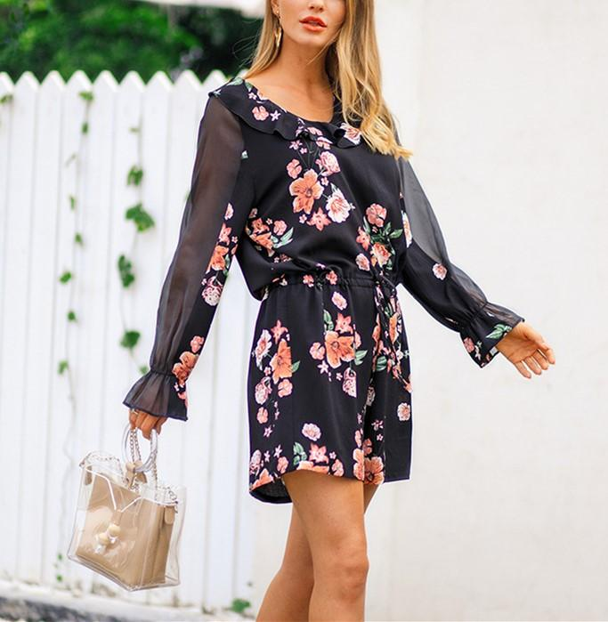 Fashion Falbala Collar Chiffon Floral Print Jumpsuit Black l