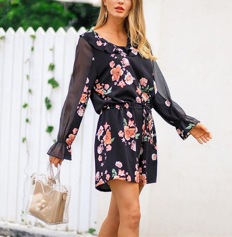Image of Fashion Falbala Collar Chiffon Floral Print Jumpsuit Black l