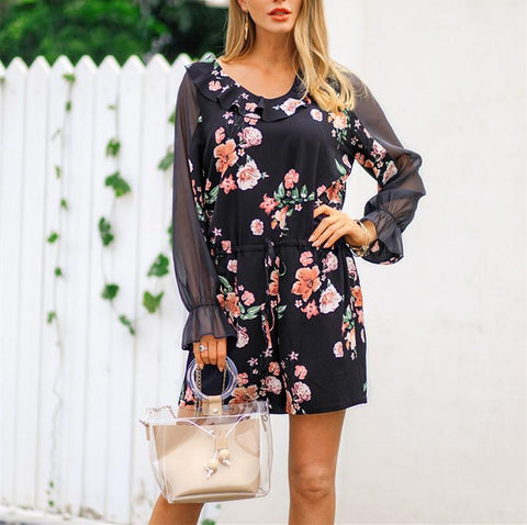 Image of Fashion Falbala Collar Chiffon Floral Print Jumpsuit Black xl
