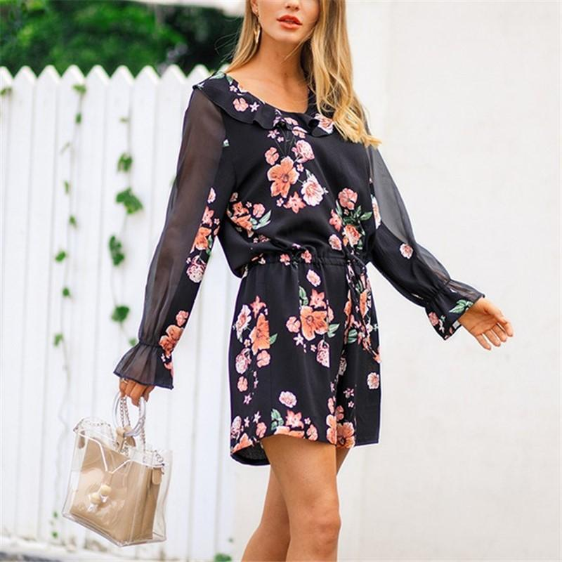 Fashion Falbala Collar Chiffon Floral Print Jumpsuit Black m