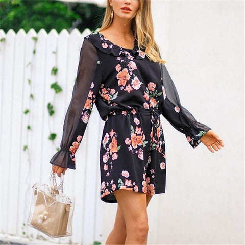 Image of Fashion Falbala Collar Chiffon Floral Print Jumpsuit Black m