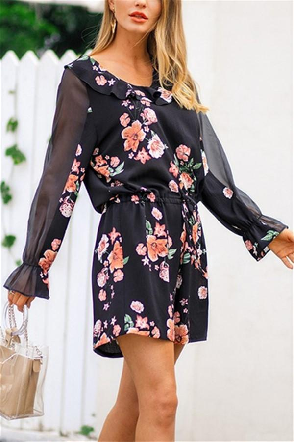 Fashion Falbala Collar Chiffon Floral Print Jumpsuit Black s