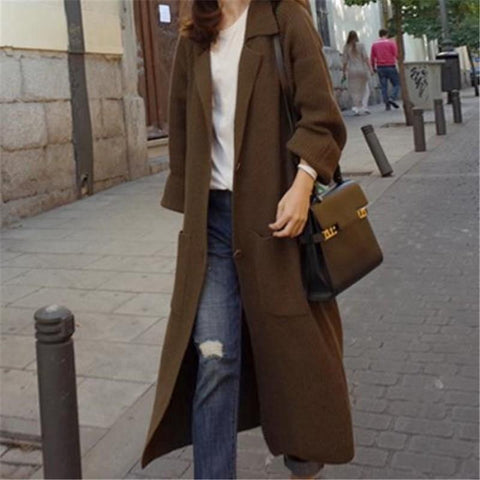 Image of Fashion Loose Show Thin Long Knitted Sweater Cardigan Brown l