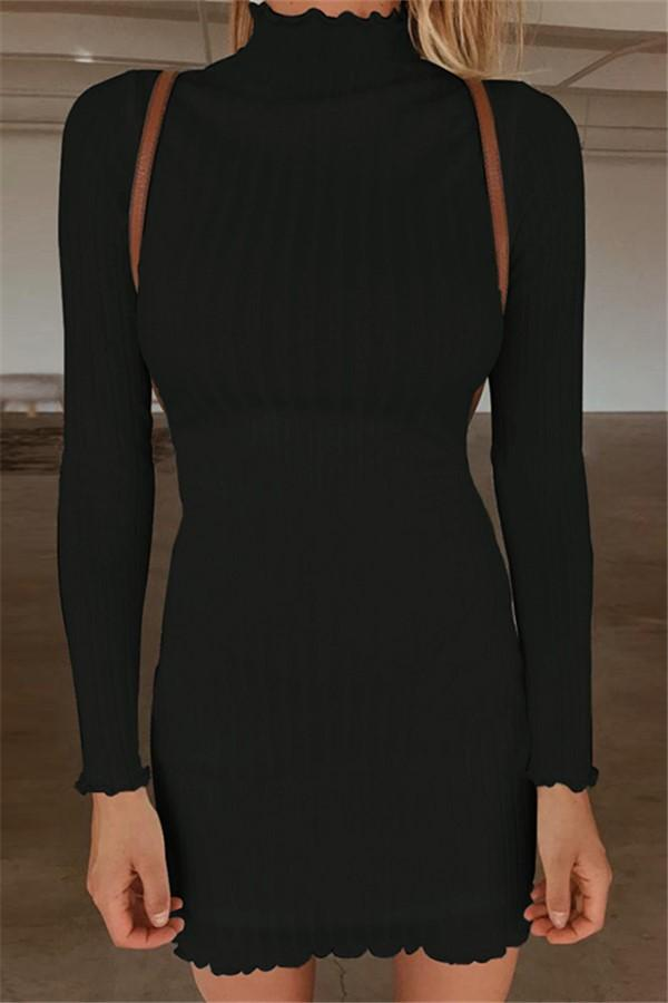 Fashion High Collar   Sexy Long Sleeve Knitted Sweater Mini Bodycon Dress Black s