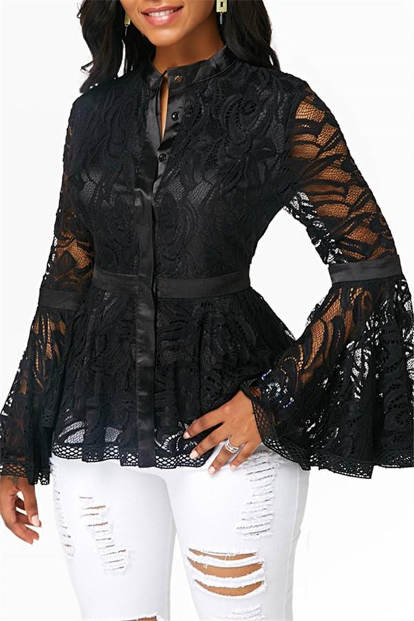 Fashion Lace Spliced   Horn Sleeve T-Shirt Blouse Black s