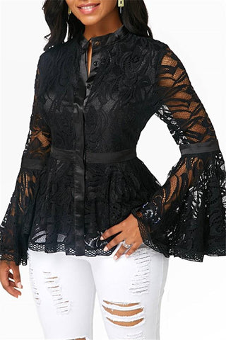 Image of Fashion Lace Spliced   Horn Sleeve T-Shirt Blouse Black s