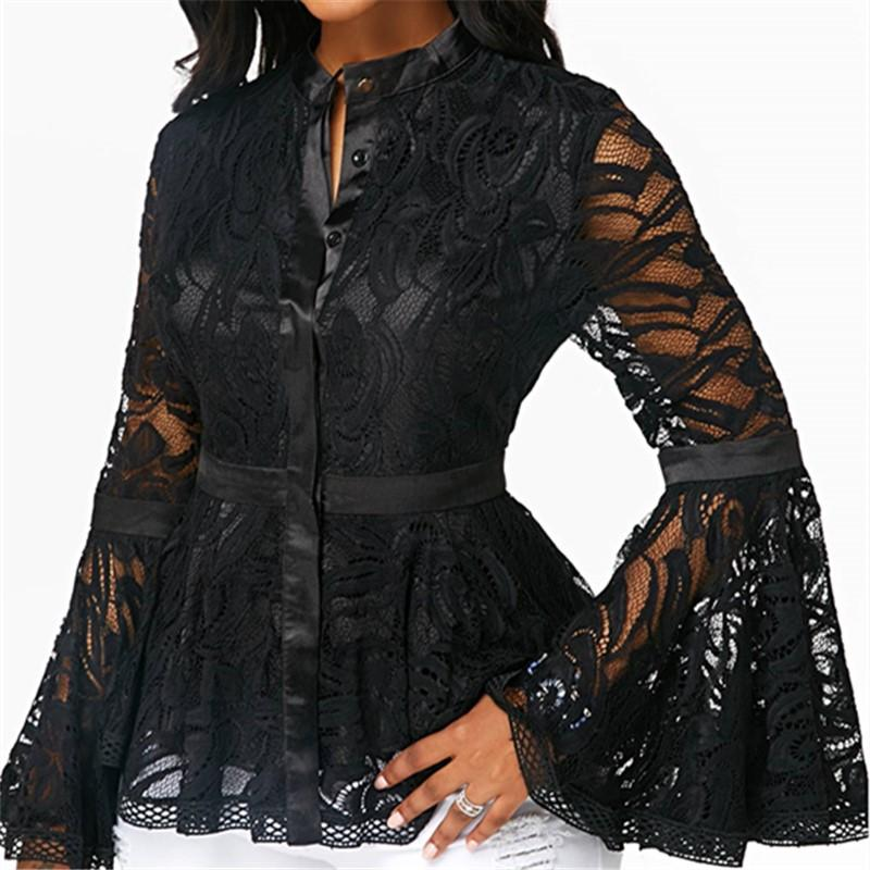 Fashion Lace Spliced   Horn Sleeve T-Shirt Blouse Black m