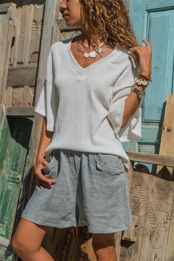Fashion Pure Color V   Neck Loose T-Shirt Blouse White s