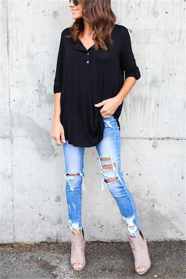 Fashion Pure Color   Loose T-Shirt Blouse Black s
