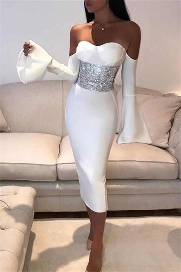 Fashion Pure Color   Sexy Backless Show Thin Maxi Dress White s