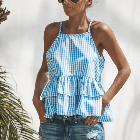 Image of Fashion Sexy Casual   Plaid Sling Top Blue m