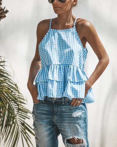 Image of Fashion Sexy Casual   Plaid Sling Top Blue l