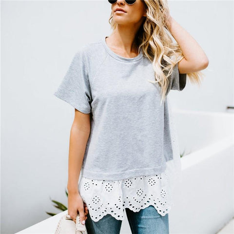 Image of Embroidered Openwork Lace Short-Sleeved T-Shirt Gray m