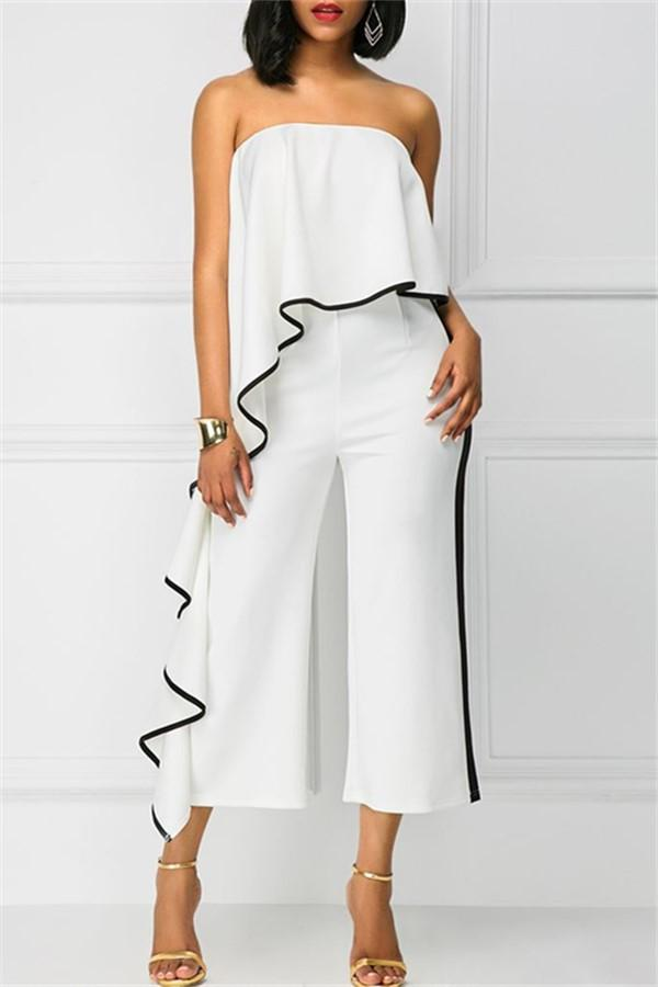 Fashion Slim Show Thin   Boat Neck Wide Leg Jumpsuit White s