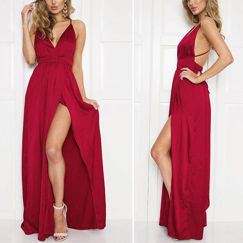 Fashion Sexy V Neck   Backless Evening Maxi Dresses Claret m