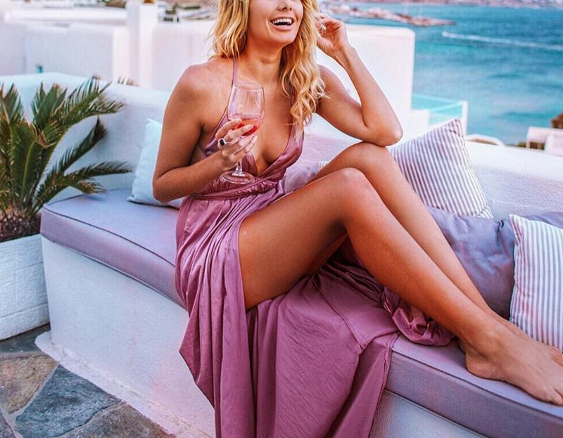 Fashion Sexy V Neck   Backless Evening Maxi Dresses Nude Pink xl