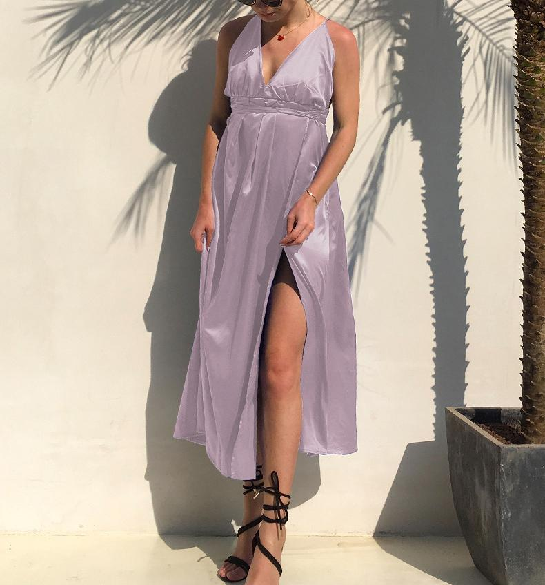 Fashion Sexy V Neck   Backless Evening Maxi Dresses Nude Pink m