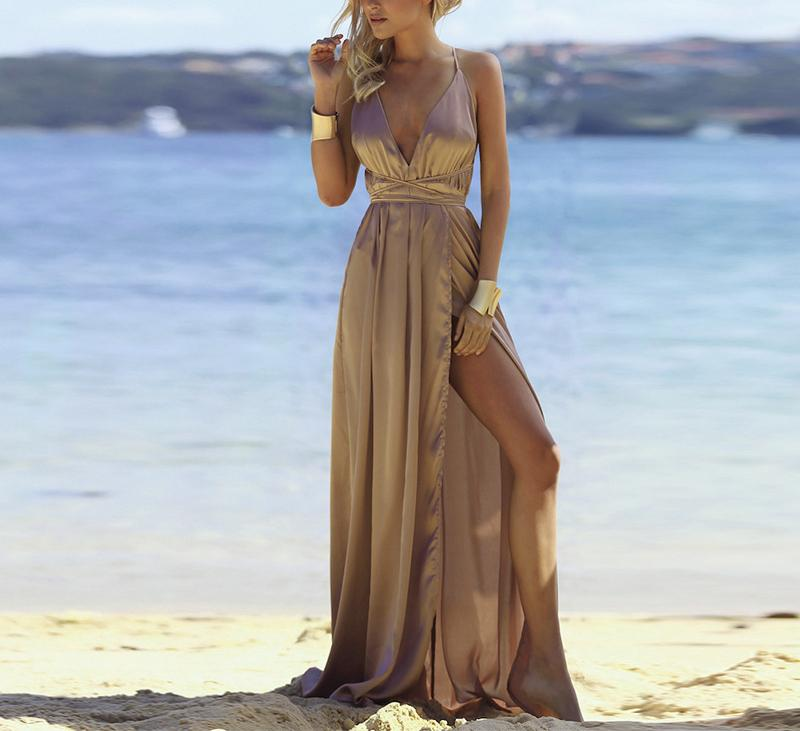 Fashion Sexy V Neck   Backless Evening Maxi Dresses Khaki l