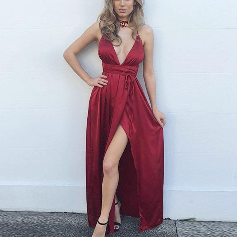 Fashion Sexy V Neck   Backless Evening Maxi Dresses Claret s