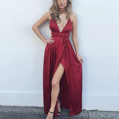 Image of Fashion Sexy V Neck   Backless Evening Maxi Dresses Claret s