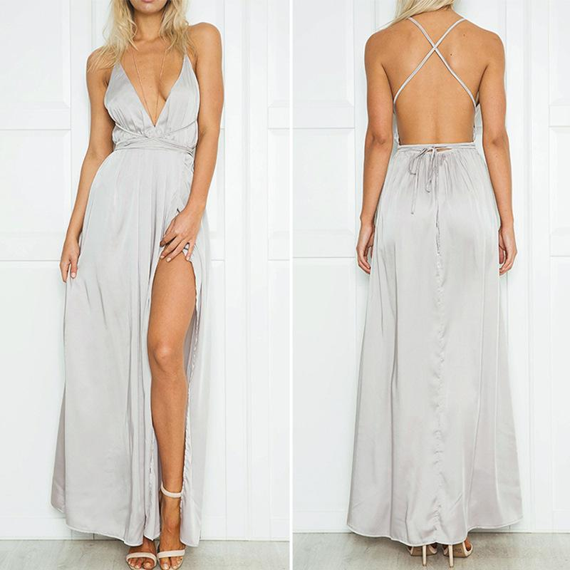 Fashion Sexy V Neck   Backless Evening Maxi Dresses Silver l