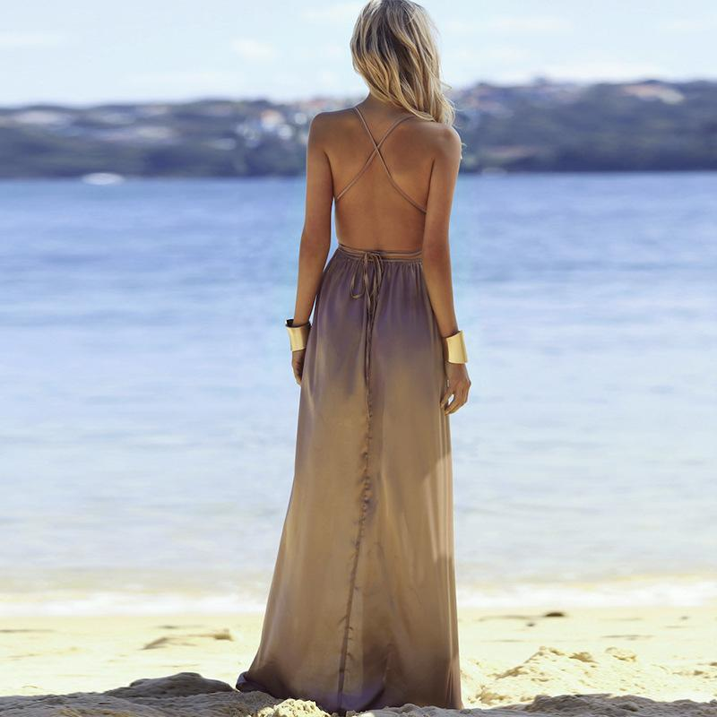 Fashion Sexy V Neck   Backless Evening Maxi Dresses Khaki 2xl