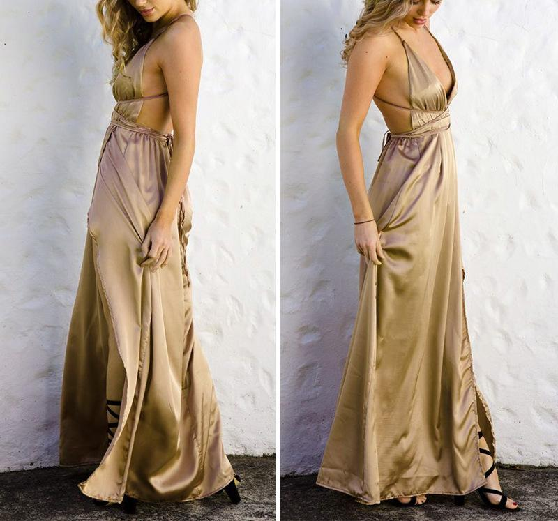 Fashion Sexy V Neck   Backless Evening Maxi Dresses Khaki m